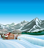 Winter landscape with hut. Stock Photos