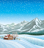 Winter landscape with hut and snowfall. Royalty Free Stock Photo