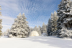 Winter landscape with huts Royalty Free Stock Images