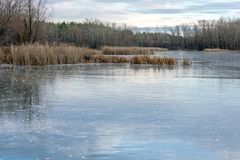 Winter landscape ice-covered lake and trees. Beautiful cloudy sky royalty free stock photos