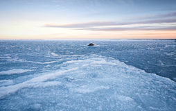 Winter landscape with ice on frozen Sea Royalty Free Stock Image