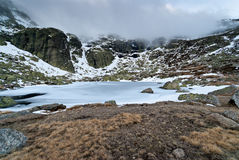 Winter landscape ice lake snow rock storm sky. Wide angle lens Royalty Free Stock Photos
