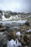 Winter landscape ice lake snow rock storm sky. Wide angle lens Royalty Free Stock Images