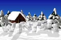 Winter landscape with ice word winter. Royalty Free Stock Photography