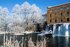 Winter landscape with icy river dam Stock Photography