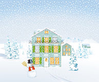 Winter landscape illustration Royalty Free Stock Photos