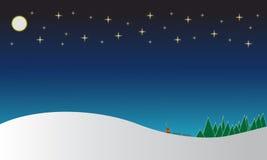Winter landscape  illustration. Winter landscape illustration with snowed hills and night sky Stock Photo