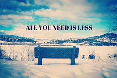 Winter landscape inspirational quote with park bench Royalty Free Stock Image
