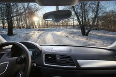 winter landscape of the interior car stock photo