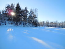 Winter landscape in the Karelia. Royalty Free Stock Image