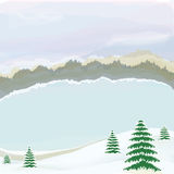 Winter landscape with lake,cloudy sky and forest Stock Photography