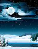 Winter landscape with lake and full moon. Royalty Free Stock Photos