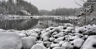Winter landscape at the lake Royalty Free Stock Photo