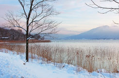 Winter landscape lakeside tegernsee Royalty Free Stock Photos