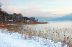 Winter landscape lakeside tegernsee Royalty Free Stock Image