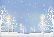 Winter landscape with lamp post and snow paper art style. Christmas season background paper cut illustration Royalty Free Stock Photos