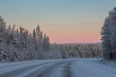 Beautiful Winter Landscape in Lapland,Finland. Winter landscape in Lapland,Finland Stock Photos