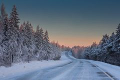 Beautiful Winter Landscape in Lapland,Finland. Winter landscape in Lapland,Finland Stock Images