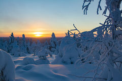 Winter landscape in Lapland Finland. Winter landscape in sunset in Lapland Finland Royalty Free Stock Images