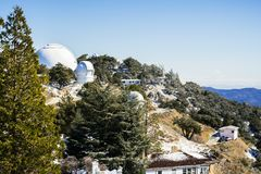 Winter landscape at Lick Observatory complex (owned and operated by the University of California) on top of Mt Hamilton, San Jose. South San Francisco bay area stock photos