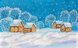 Winter landscape on light blue sky Stock Photo