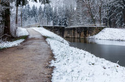 Winter landscape- lock Ludwig Canal Royalty Free Stock Photos