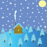 Winter landscape with lodge Royalty Free Stock Photos