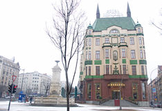 Winter landscape of luxurious Hotel Moscow. Winter, snow landscape of luxurious Hotel Moscow in Russia Palace in Belgrade was built in 1906. It belongs to stock images