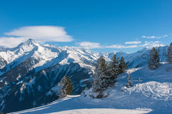 Winter landscape, Mayrhofen. Winter landscape in a ski resort of a valley of the Zillertal - Mayrhofen, Austria Stock Image