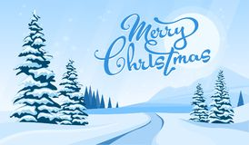 Winter landscape with Merry Cristmas Royalty Free Stock Image