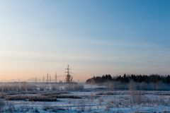 Winter landscape in the morning Stock Photography