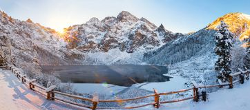 Winter landscape of Morskie oko in Tatra. Winter landscape. Winter mountains in morning sunlight. snowy nature royalty free stock images