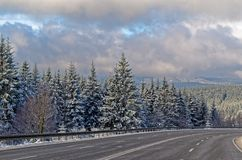 Winter landscape and motorway in Harz mountains. Near Braunlage, Germany royalty free stock photo