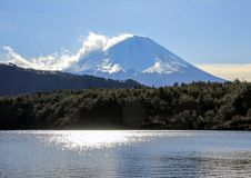 Winter landscape with Mount Fuji, forest and lake. Nature of Japan. Famous places in the world royalty free stock image