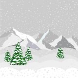 Winter landscape, mountain and forest in vector Stock Photo