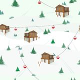 Winter landscape with mountain house, trees, cable car, skis. Recreation. Ski holidays. vector illustration