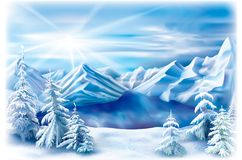 Winter landscape of a mountain lake Royalty Free Stock Photos
