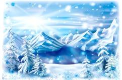 Winter mountain lake with snowflakes frame Royalty Free Stock Photos