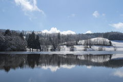 Winter landscape. Mountain lake with snowy fir trees, and beautiful blue sky stock images