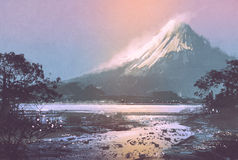 Winter landscape with mountain lake under evening sky. Digital painting Royalty Free Stock Image