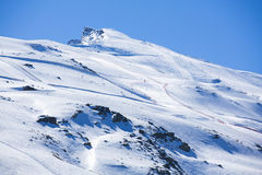 Winter landscape on mountain with ski lift and ski slope. Stock Photography