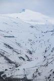 Winter landscape on mountain with ski lift Royalty Free Stock Photos