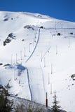 Winter landscape on mountain with ski lift Stock Photos