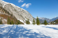 Winter landscape in a mountain valley Royalty Free Stock Photos