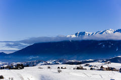 Winter landscape with a mountain village Royalty Free Stock Photography