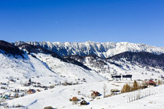 Winter landscape with a mountain village Royalty Free Stock Photos