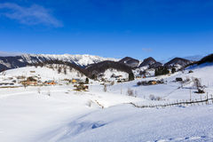 Winter landscape with a mountain village Stock Photography
