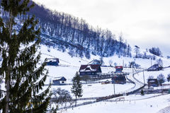 Winter landscape with a mountain village Royalty Free Stock Photo