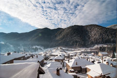 Winter landscape with mountain villages Royalty Free Stock Photos