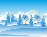 Winter landscape with mountain and wood Royalty Free Stock Photography